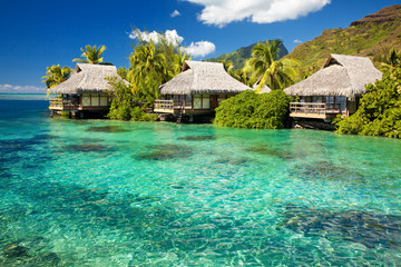 Over water bungalow with steps into amazing lagoon