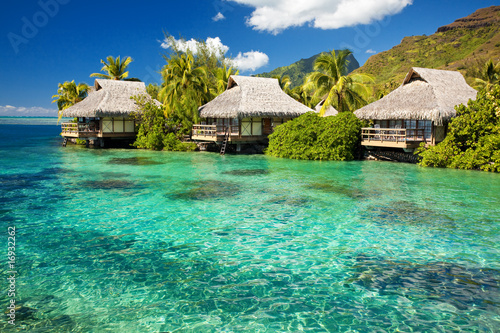 Over water bungalow with steps into amazing lagoon #16932262