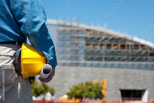 Fototapety, obrazy: Construction Worker or Foreman at construction site