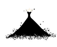 Dress Black On Hander, Vector Illustration