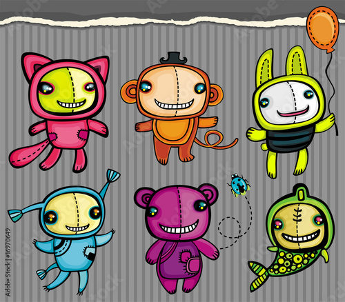 Poster de jardin Creatures Cute vector toys animals
