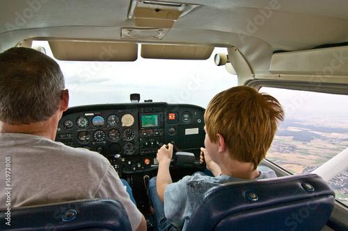 Fotografia, Obraz Kind hat als Copilot den Flug der Cessna übernommen