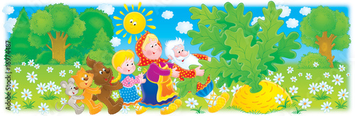 Cadres-photo bureau Cosmos Grandpa, grandma, granddaughter and big turnip