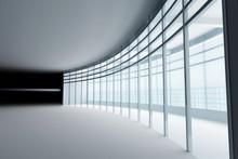 Empty Light Big Hall With Glas...