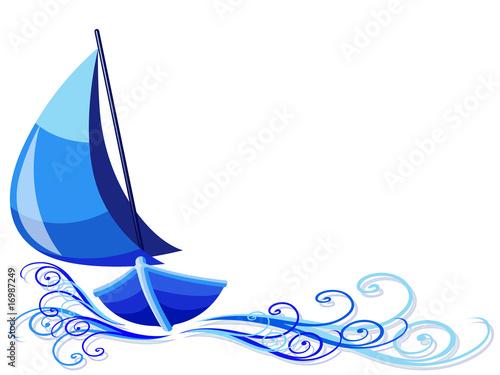 Barca a Vela-Sailboat Background-Bateau à Voile Canvas Print