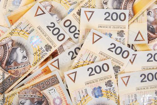 Fotografía background made of polish 200 zloty banknotes