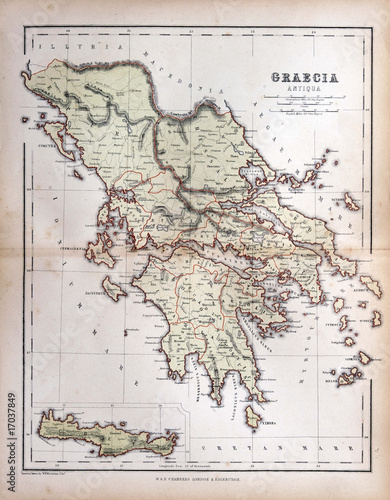 In de dag Retro Old map of Greece, 1870