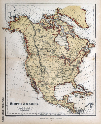 In de dag Retro Old map of North America, 1870