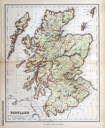 In de dag Retro Old map of Scotland, 1870