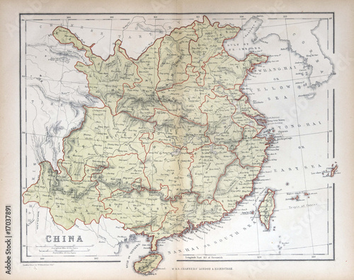 Fototapeta Old map of  China, 1870