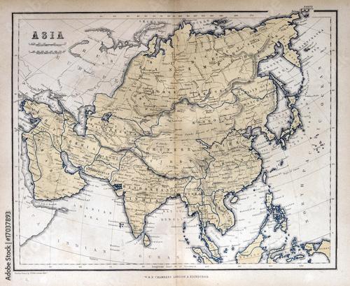 Deurstickers Retro Old map of Asia, 1870
