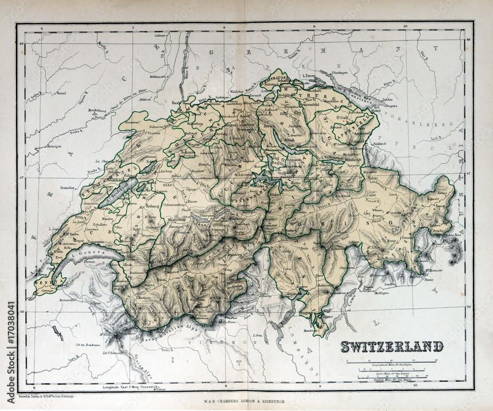 Fényképezés Old map of Switzerland, 1870. Schweiz, la Suisse