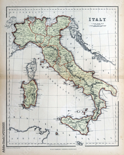Old map of Italy, 1870 Canvas Print