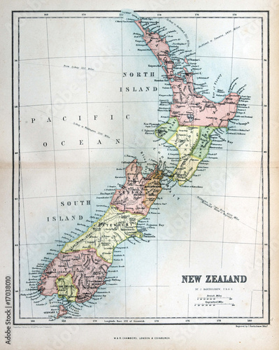 Fotografía Old map of New Zealand, 1870