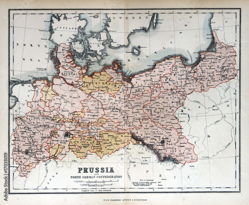 In de dag Retro Old map of Prussia, Germany, 1870