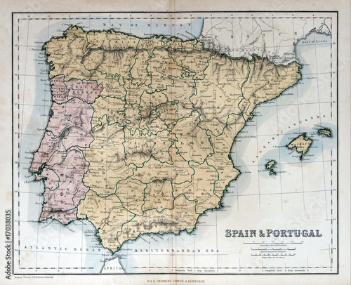 Photo Old map of Spain & Portugal, 1870