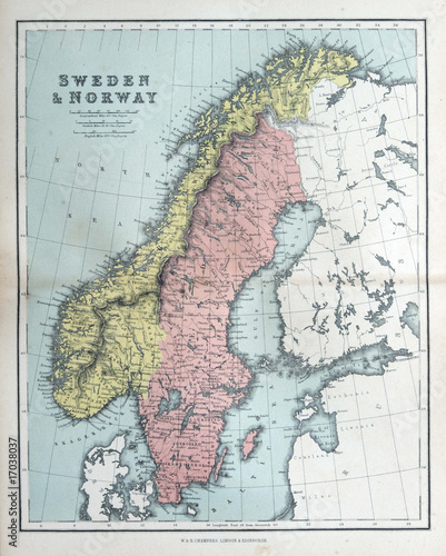Fotografie, Obraz Old map of Sweden & Norway, 1870