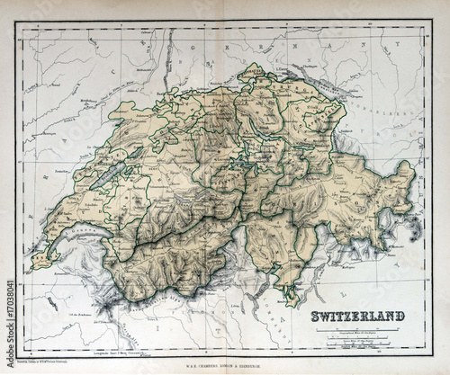 Old map of Switzerland, 1870. Schweiz, la Suisse Fototapet