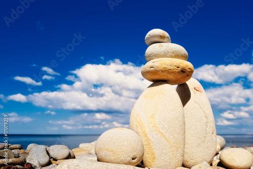 Doppelrollo mit Motiv - Blue sky and pebble