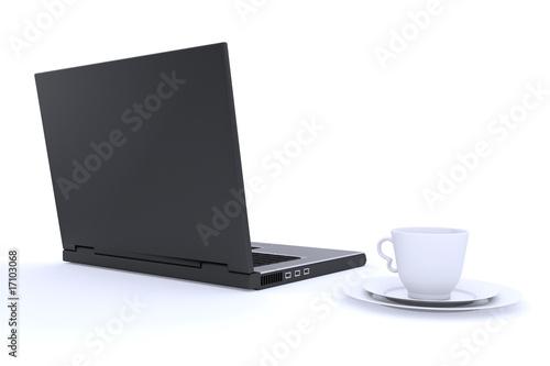 Fototapeta Notebook with cup on saucer obraz na płótnie