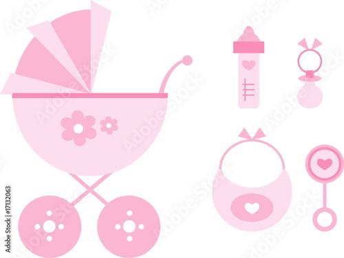f0bf7a283b9 Clipart-Set: Kinderwagen und Baby-Accessoires (rosa/pink) - Buy this ...