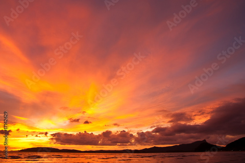 Poster Corail Sunset at Ao nang bay, Thailand