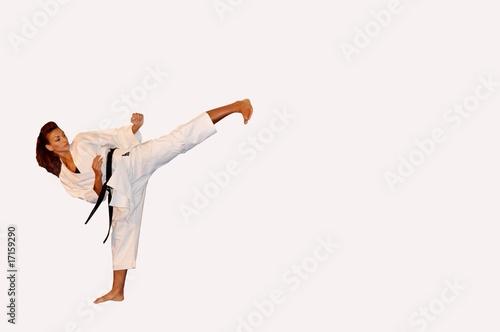 Photo  Karate left leg kick