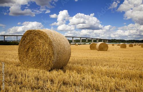 Carta da parati Straw bales with river and bridge in the Background