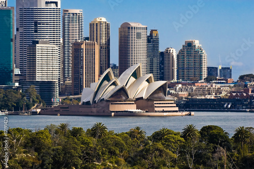 Stickers pour porte Australie Sydney Opera House and Skyline