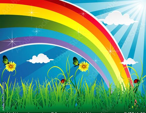 Foto op Canvas Regenboog paisaje en vector