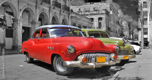 Foto auf AluDibond Alte Autos Colorful Havana cars panorama