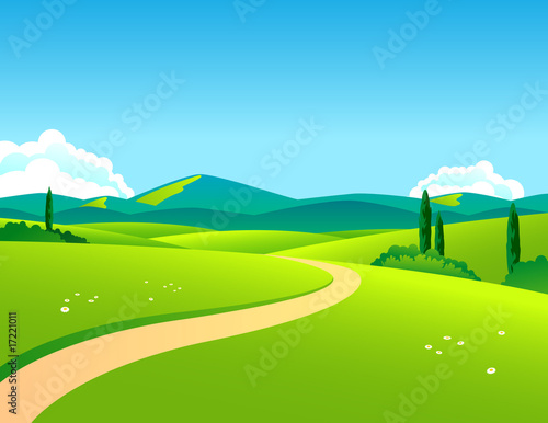 Wall Murals Blue Countryside landscape by day
