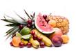 canvas print picture - Viele Obstsorten auf weiß - Querformant