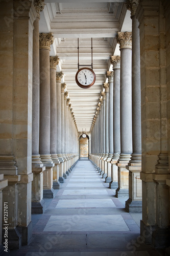 Classical style colonnade in Karlovy Vary, Czech Republic Canvas Print