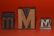 3 alte M Typen, Druckerei - Setzerei