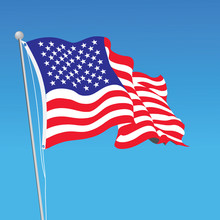 Vector American Flag On Pole