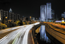 Night View Of Azrieli Complex And Ayalon Highway In Tel Aviv