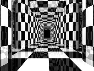 Fototapeta 3D czarno białe szachownica