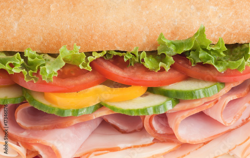 Close-up of a fresh ham & turkey sandwich