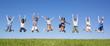 Leinwandbild Motiv Group jumping