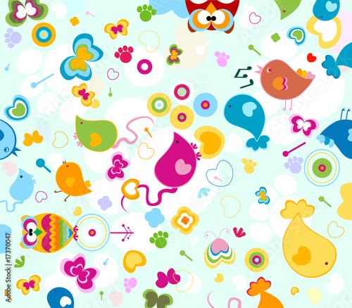 Poster Oiseaux, Abeilles animals pattern