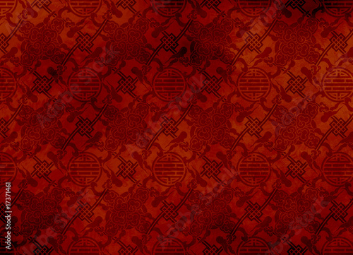 Fotografie, Obraz  Chinese red textured pattern in filigree for background
