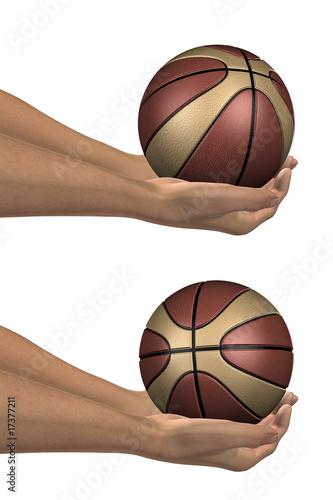 Deurstickers Retro brown and beige 3D basket balls held in hands collection