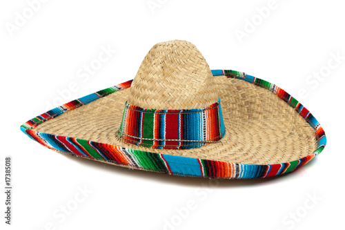 Fotografie, Obraz  Straw Mexican Sombrero on white background