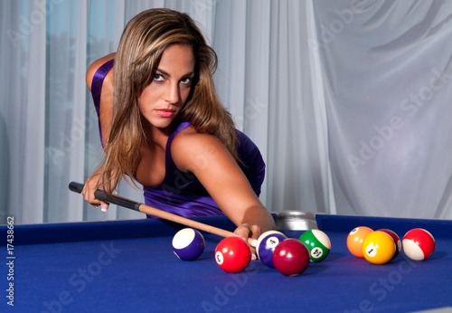 Fotografie, Tablou  Sexy Girl in the billiard