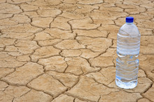 Water Bottle On Dry Ground