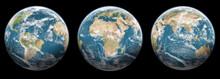 Set Of 3 Globes Planet Earth - Black Background