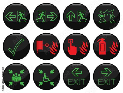 Plakaty BHP czarna-ikona-ognia-i-drogi-ewakuacyjnej-ustawiona-indywidualnie-warstwowo