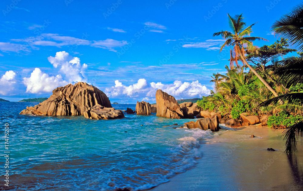 Leinwandbild Motiv - Pat on stock : Plage de praslin aux Seychelles