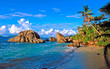 Leinwanddruck Bild Plage de praslin aux Seychelles